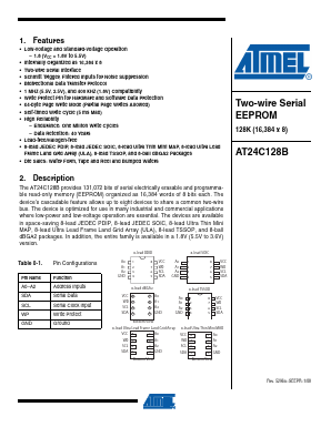 at24c128b 数据手册 ( 数据表 ) - atmel corporation