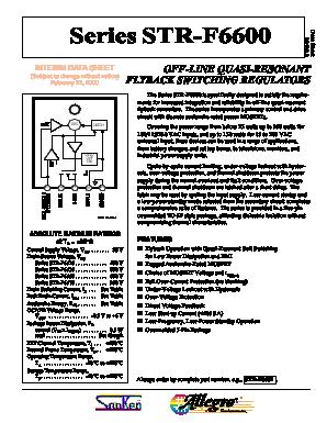 STR-F6626 Datasheet, STR-F6626 PDF, Pinouts, Circuit - Sanken