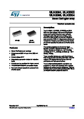 ULN2001 Datasheet Uln on npn 2n2222, 2n3904 transistor, nor gate, ir sensor, pic18f4550, sn74ls08n, pic16f877a,